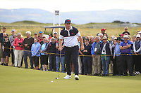 Thomas Sloman (GB&I) on the 18th green during Day 2 Singles at the Walker Cup, Royal Liverpool Golf CLub, Hoylake, Cheshire, England. 08/09/2019.<br /> Picture Thos Caffrey / Golffile.ie<br /> <br /> All photo usage must carry mandatory copyright credit (© Golffile | Thos Caffrey)
