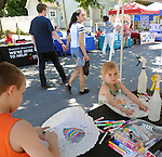 Activities for Children at the Family of Woodstock, Art Table, one of  the many community service groups that provided services at the various booths at the 11th Annual Mid-town Make a Difference Day Celebration on Franklin Street, in Kingston, NY on Saturday, June  18, 2016. Photo by Jim Peppler. Copyright Jim Peppler 2016.