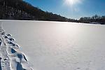 Snow, cross country skiing, and ice fishing on Pocantico Lake, Sleepy Hollow