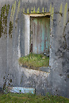 Isle of Lewis and Harris, Scotland:<br /> Window on an abandoned croft house with textured walls