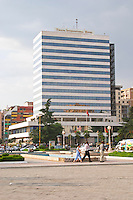 The Tirana International Hotel. The Tirana Main Central Square, Skanderbeg Skanderburg Square. Tirana capital. Albania, Balkan, Europe.