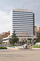 The Tirana International Hotel. The Tirana Main Central Square, Skanderbeg Skanderburg Square. Tirana capital. Albania, Balkan, Europe.