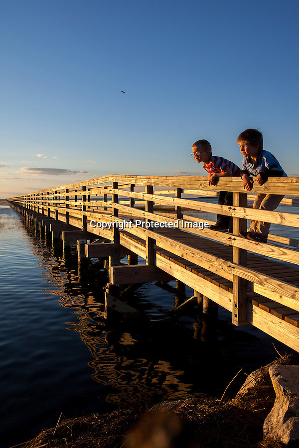 From left, William and Christopher Wing, both 4, of Yarmouth Port, MA, check out the view from the boardwalk at Gray's Beach in Yarmouth Port, MA.