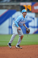 Logan Warmoth (7) of the North Carolina Tar Heels on defense against the Boston College Eagles in Game Five of the 2017 ACC Baseball Championship at Louisville Slugger Field on May 25, 2017 in Louisville, Kentucky. The Tar Heels defeated the Eagles 10-0 in a game called after 7 innings by the Mercy Rule. (Brian Westerholt/Four Seam Images)