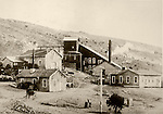 Historic c. 1908 photos of the gold mill during its heyday, Berlin-Ichthyosaur State Park, Nev.