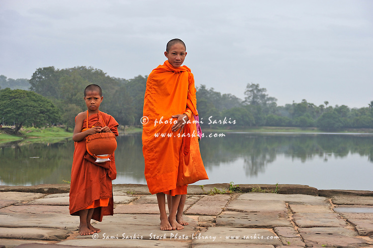 Young monks portrait on their way to Angkor Wat, Siem Reap, Cambodia
