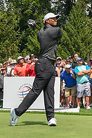 Tiger Woods (USA) watches his tee shot on 4 during 2nd round of the World Golf Championships - Bridgestone Invitational, at the Firestone Country Club, Akron, Ohio. 8/3/2018.<br /> Picture: Golffile | Ken Murray<br /> <br /> <br /> All photo usage must carry mandatory copyright credit (&copy; Golffile | Ken Murray)