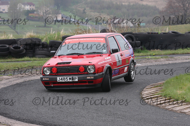 Fred Currell driving his Volkswagen Golf in the Machars Car Club organised Kames Sprint, a round of the 2013 Guyson Scottish Sprint, 2013 Guyson Scottish Speed, 2013 MJ Engineering Speed and the 2013 Service Hydraulics Speed Championships held at the Kames Motorsport Complex, Muirkirk on 19.5.13.