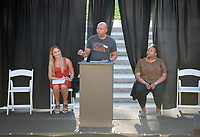 Dean of Students Rob Flot<br /> The O-Team cheers for parents and students at the Welcome to Oxy event at the Remsen Bird Hillside Theater (Greek Bowl) as part of the official Orientation welcome. Incoming first-years and their families are welcomed by enthusiastic O-Team members and other members of the community during Occidental College's Fall move-in and orientation for the class of 2023, Aug. 22, 2019.<br /> (Photo by Marc Campos, Occidental College Photographer)