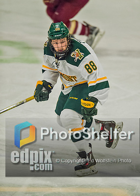 20 February 2016: University of Vermont Catamount Forward Jonathan Turk, a Senior from Calgary, Alberta, in third period action against the Boston College Eagles at Gutterson Fieldhouse in Burlington, Vermont. The Eagles defeated the Catamounts 4-1 in the second game of their weekend series. Mandatory Credit: Ed Wolfstein Photo *** RAW (NEF) Image File Available ***