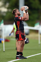 Rhys Lawrence of the Dragons looks to throw into a lineout. Pre-season friendly match, between Ealing Trailfinders and the Dragons on August 11, 2018 at the Trailfinders Sports Ground in London, England. Photo by: Patrick Khachfe / Onside Images