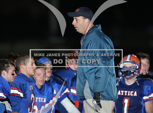 Attica Blue Devils varsity football against the Bath Rams during the quarter finals of the Class B playoffs at Attica High School in Attica, New York on October 22, 2010.   Attica defeated Bath 28-14.  (Copyright Mike Janes Photography)