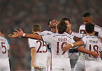 Bayer's Mario Gotz celebrates after scoring during the Champions League Group E soccer match between As Roma and FC Bayern Munchen at the Olympic Stadium in Rome october 21 , 2014.
