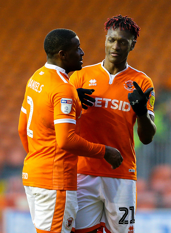 Blackpool's Armand Gnanduillet shares a moment with Donervon Daniels<br /> <br /> Photographer Alex Dodd/CameraSport<br /> <br /> The EFL Sky Bet League One - Blackpool v Shrewsbury Town - Saturday 19 January 2019 - Bloomfield Road - Blackpool<br /> <br /> World Copyright © 2019 CameraSport. All rights reserved. 43 Linden Ave. Countesthorpe. Leicester. England. LE8 5PG - Tel: +44 (0) 116 277 4147 - admin@camerasport.com - www.camerasport.com