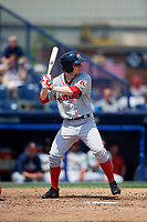 Portland Sea Dogs center fielder Danny Mars (2) at bat during the first game of a doubleheader against the Reading Fightin Phils on May 15, 2018 at FirstEnergy Stadium in Reading, Pennsylvania.  Portland defeated Reading 8-4.  (Mike Janes/Four Seam Images)