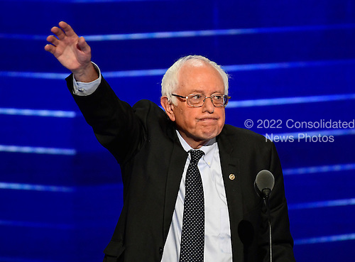 United States Senator Bernie Sanders (Independent of Vermont) waves after completing his remarks at the 2016 Democratic National Convention at the Wells Fargo Center in Philadelphia, Pennsylvania on Monday, July 25, 2016.<br /> Credit: Ron Sachs / CNP<br /> (RESTRICTION: NO New York or New Jersey Newspapers or newspapers within a 75 mile radius of New York City)