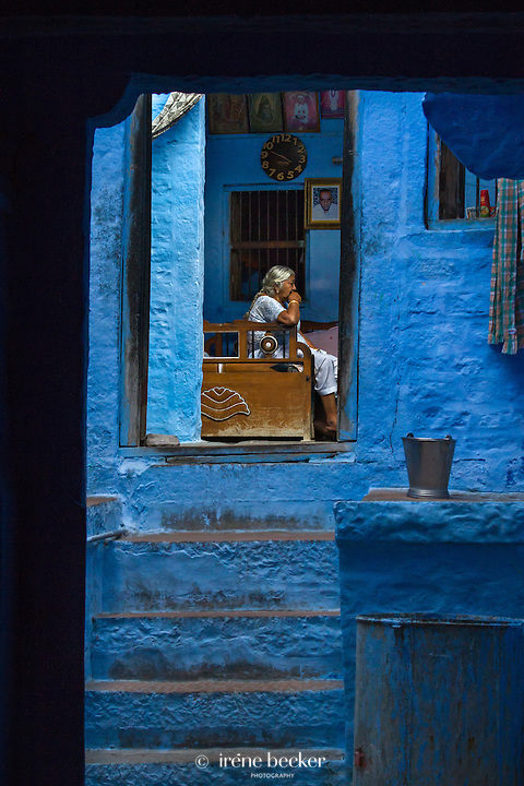 A house in a street of Jodhpur, the Blue city of Rajasthan.