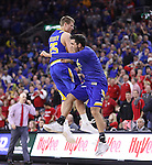 SIOUX FALLS, SD: MARCH 6: Lane Severyn #25 and Sergio El Darwich of South Dakota State celebrate their victory over South Dakota during the Summit League Basketball Championship on March 6, 2017 at the Denny Sanford Premier Center in Sioux Falls, SD. (Photo by Dick Carlson/Inertia)