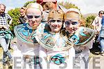 Abie Ní Loinsigh, with Claire and Anna Buckley, from Scoil an Chlochan, at the Féile na Bealtaine parade over the weekend.