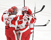 Jenn Wakefield (BU - 9), Tara Watchorn (BU - 27), Kathryn Miller (BU - 4) - The Boston University Terriers defeated the visiting University of Connecticut Huskies 4-2 on Saturday, November 19, 2011, at Walter Brown Arena in Boston, Massachusetts.