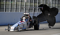 Nov 13, 2010; Pomona, CA, USA; NHRA top alcohol dragster driver Chris Demke during qualifying for the Auto Club Finals at Auto Club Raceway at Pomona. Mandatory Credit: Mark J. Rebilas-