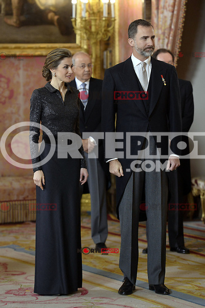 King Felipe VI and Queen Letizia of Spain attend the annual Foreign Ambassadors reception at the Royal Palace in Madrid. January 21, 2015. (POOL/Carlos Alvarez/ALTERPHOTOS) /NortePhoto<br /> NortePhoto.com