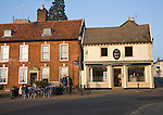 People sitting outside a cafe, Framlingham, Suffolk, England