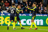 Alexis Sanchez of Arsenal Celebrates his goal during the English Premier League game between Arsenal and Swansea at the Liberty Stadium in Swansea ,Wales, UK. Saturday 14 January 2017