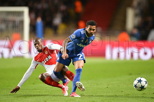 May 3rd 2017, Stade Louis II, Monaco,France; UEFA Champions league football semi-final, AS Monaco versus Juventus;  DJIBRIL SIDIBE (mon) and Dani Alves (juv)