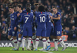 Chelsea's Tammy Abraham celebrates with team mates after scoring the opening goal during the Premier League match at Stamford Bridge, London. Picture date: 4th December 2019. Picture credit should read: Paul Terry/Sportimage