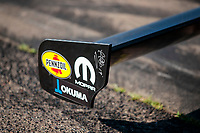 Aug 18, 2019; Brainerd, MN, USA; Detailed view at the front wing on the dragster of NHRA top fuel driver Leah Pritchett during the Lucas Oil Nationals at Brainerd International Raceway. Mandatory Credit: Mark J. Rebilas-USA TODAY Sports