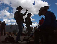 At the Tucson Rodeo, riders get prepared for the competition underneath the stands, Tucson, Arizona. .. .For Editorial use only / Permission from Pro Rodeo Cowboy's Association REQUIRED for any commercial usage..