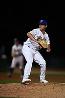 Rancho Cucamonga Quakes relief pitcher Logan Salow (49) delivers a pitch during a California League game against the Lake Elsinore Storm at LoanMart Field on May 19, 2018 in Rancho Cucamonga, California. Lake Elsinore defeated Rancho Cucamonga 10-7. (Zachary Lucy/Four Seam Images)