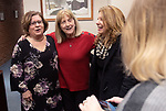 "MIDDLEBURY CT. - 30 December 2019-1230SV01-From left, retired Town Clerk Virginia ""Ginger"" Salisbury of Southbury, congratulates Town Clerk Edith Salisbury at her retirement party with Antoinette ""Chick"" Spinelli, Waterbury Town Clerk, during a party for her retirement in Middlebury Monday.<br /> Steven Valenti Republican-American"