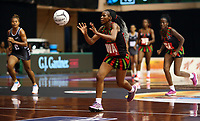 22.02.2018 Malawi's Bridget Kumwenda in action during the Fiji v Malawi Taini Jamison Trophy netball match at the North Shore Events Centre in Auckland. Mandatory Photo Credit ©Michael Bradley.