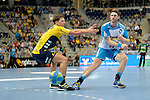 GER - Mannheim, Germany, September 23: Players warm-up before the DKB Handball Bundesliga match between Rhein-Neckar Loewen (yellow) and TVB 1898 Stuttgart (white) on September 23, 2015 at SAP Arena in Mannheim, Germany.  Harald Reinkind #27 of Rhein-Neckar Loewen, Kasper Kisum #10 of TVB 1898 Stuttgart<br /> <br /> Foto &copy; PIX-Sportfotos *** Foto ist honorarpflichtig! *** Auf Anfrage in hoeherer Qualitaet/Aufloesung. Belegexemplar erbeten. Veroeffentlichung ausschliesslich fuer journalistisch-publizistische Zwecke. For editorial use only.