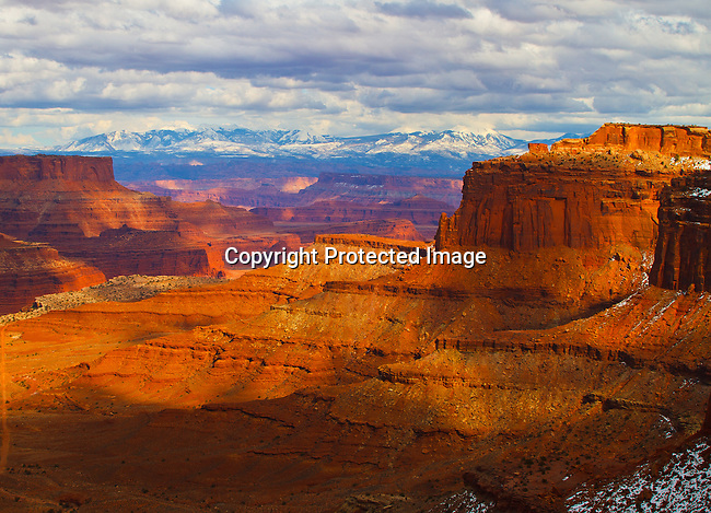 La Sal Mountains and Shafer Canyon in Canyonlands National Park outside Moab, Utah. 3/13/2010 Jim Urquhart/Straylighteffect.com