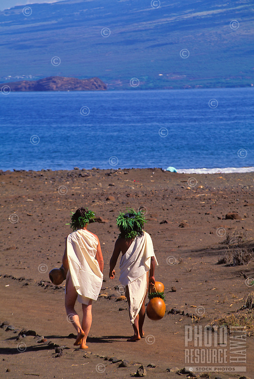 Hawaiian people in ancient dress near the water on the island of Kahoolawe