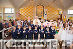 """Boys from St. Mary""""s N.S. Abbeyfeale pictured with Canon John O' Shea & teacher Frank Nelligan."""