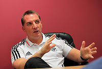 FAO SPORTS PICTURE DESK<br /> Pictured: Brendan Rodgers, manager of Premier League football side Swansea City FC during a press conference at the Liberty Stadium, south Wales. Thursday 12 January 2012