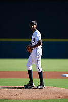 Detroit Tigers pitcher Xavier Javier (25) gets ready to deliver a pitch during a Florida Instructional League game against the Pittsburgh Pirates on October 6, 2018 at Joker Marchant Stadium in Lakeland, Florida.  (Mike Janes/Four Seam Images)