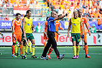 The Hague, Netherlands, June 15: The umpire shows a yellow card during the field hockey gold match (Men) between Australia and The Netherlands on June 15, 2014 during the World Cup 2014 at Kyocera Stadium in The Hague, Netherlands. Final score 6-1 (2-1)  (Photo by Dirk Markgraf / www.265-images.com) *** Local caption ***