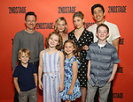 """Back row: Brad Heberlee, Samantha Mathis, Susannah Flood, Kim Fischer Front row:  Harrison Fox, Maren Heary, Casey Hilton, Ryan Foust during the Second Stage Theater's """"Make Believe"""" cast photo call at the Hudson Theatre Theatre on July 23, 2019 in New York City."""