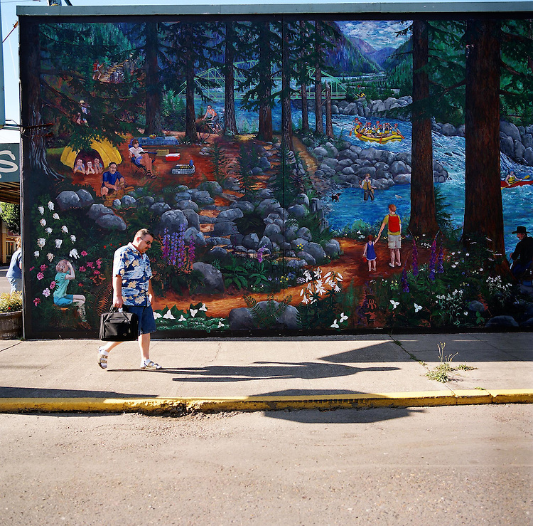 A mural along one of the main streets in downtown Estacada, Oregon
