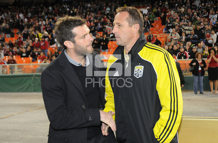 DC United Head Coach Ben Olsen with Columbus Crew Head Coach Robert Warzycha    DC United defeated The Columbus Crew  3-1 at the home season opener, at RFK Stadium, Saturday March 19, 2011.