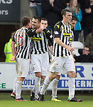 St Mirren v St Johnstone...19.10.13      SPFL<br /> Steven Thompson celebrates his goal<br /> Picture by Graeme Hart.<br /> Copyright Perthshire Picture Agency<br /> Tel: 01738 623350  Mobile: 07990 594431