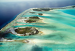 Aerial of atoll and reefs, Bora Bora, French Polynesia