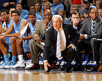 North Carolina head coach Roy Williams reacts to a call during the game against Virginia at the John Paul Jones arena in Charlottesville, Va. Virginia defeated North Carolina 61-52.