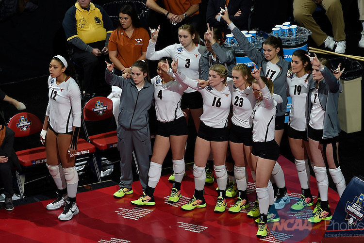 COLUMBUS, OH - DECEMBER 17:  The University of Texas celebrates a point against Stanford University during the Division I Women's Volleyball Championship held at Nationwide Arena on December 17, 2016 in Columbus, Ohio.  Stanford defeated Texas 3-1 to win the national title. (Photo by Jamie Schwaberow/NCAA Photos via Getty Images)