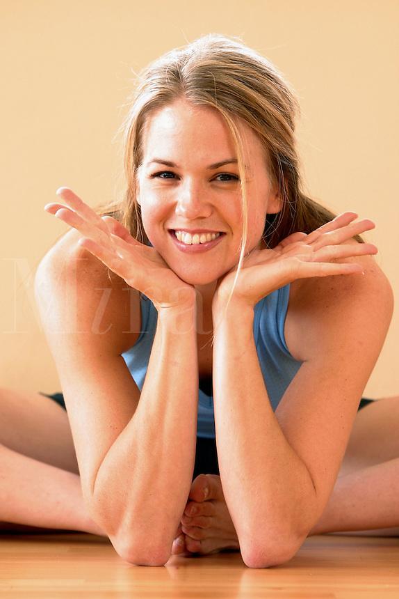 Woman enjoying a workout break.